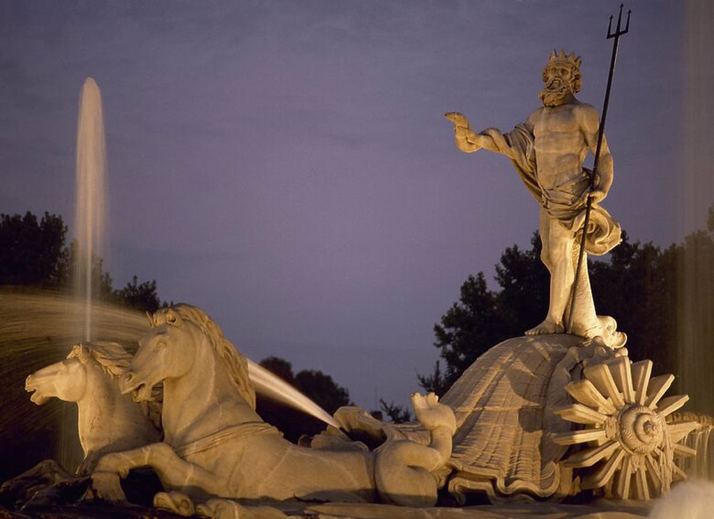 Stock Photo: 4409-57260 Spain. Madrid. The Neptune Fountain. Built by Juan Pascual de Mena, 1780. In 1786 his disciple Jose Rodriguez finished off the project. Neo-classical. Night Photography.