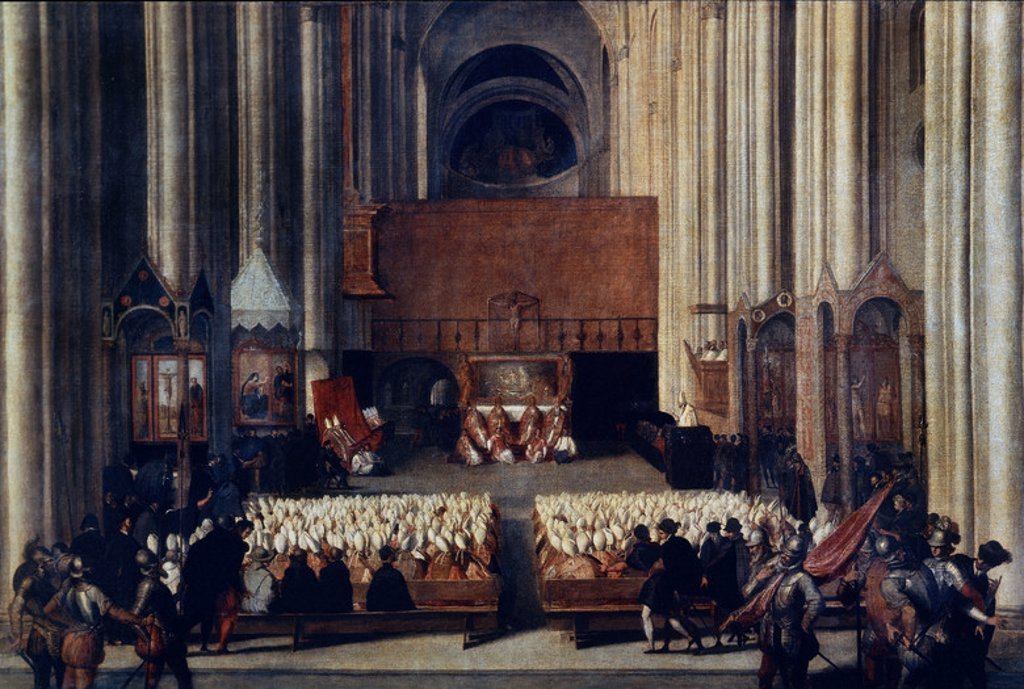 Trento Council. Oil on canvas (117 x 176 cm). Paris, musée du Louvre. Author: ATTRIBUTED TO TITIAN. Location: LOUVRE MUSEUM-PAINTINGS, PARIS, FRANCE. : Stock Photo