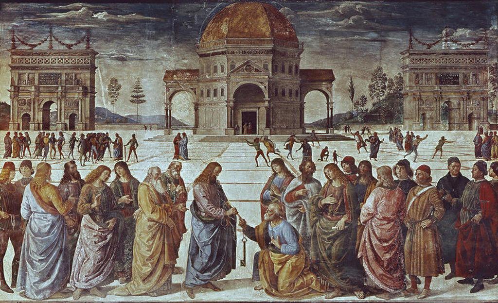 Stock Photo: 4409-5731 Giving of the Keys to St. Peter, from the Sistine Chapel - 1481 - fresco - Italian Renaissance. Author: PERUGINO, PIETRO. Location: MUSEOS VATICANOS-CAPILLA SIXTINA, VATICANO. Also known as: CRISTO ENTREGANDO LAS LLAVES A SAN PEDRO.