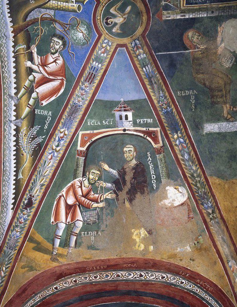 """ARTE BIZANTINO. ITALIA (S. XI). CAPILLA DE SAN ELDRADO Y SAN NICOLAS (s. XI). Frescos de la bóveda con escenas de la vida de SAN ELDRADO: """"ANTES DE PARTIR, ELDRADO RECIBE LA INSIGNIA DEL PEREGRINO, UN BASTON Y UNA ALFORJA"""". Abadía benedictina de Novalesa. Provincia de Turín. Italia. : Stock Photo"""