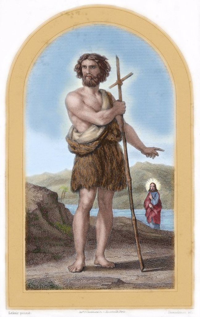 John the Baptist (c. 6 BC- c. 30-36 AD). Preacher, prophet and martyr. Colored engraving. 19th century. : Stock Photo