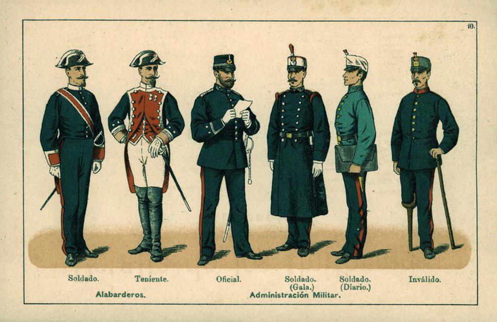 Uniformes del Ejército español. Año 1888. Alabarderos, Administración militar inválidos. : Stock Photo