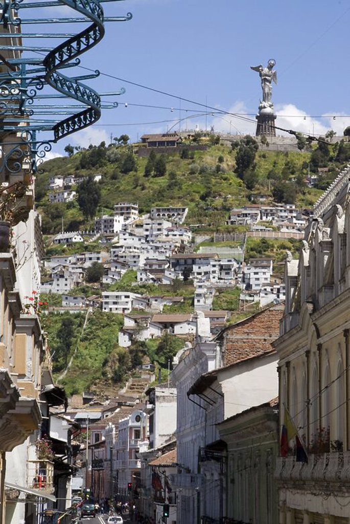 Ecuador.Quito.Historical center.Street Guayaquil and The Panecillo With Virgin of Quito. . : Stock Photo