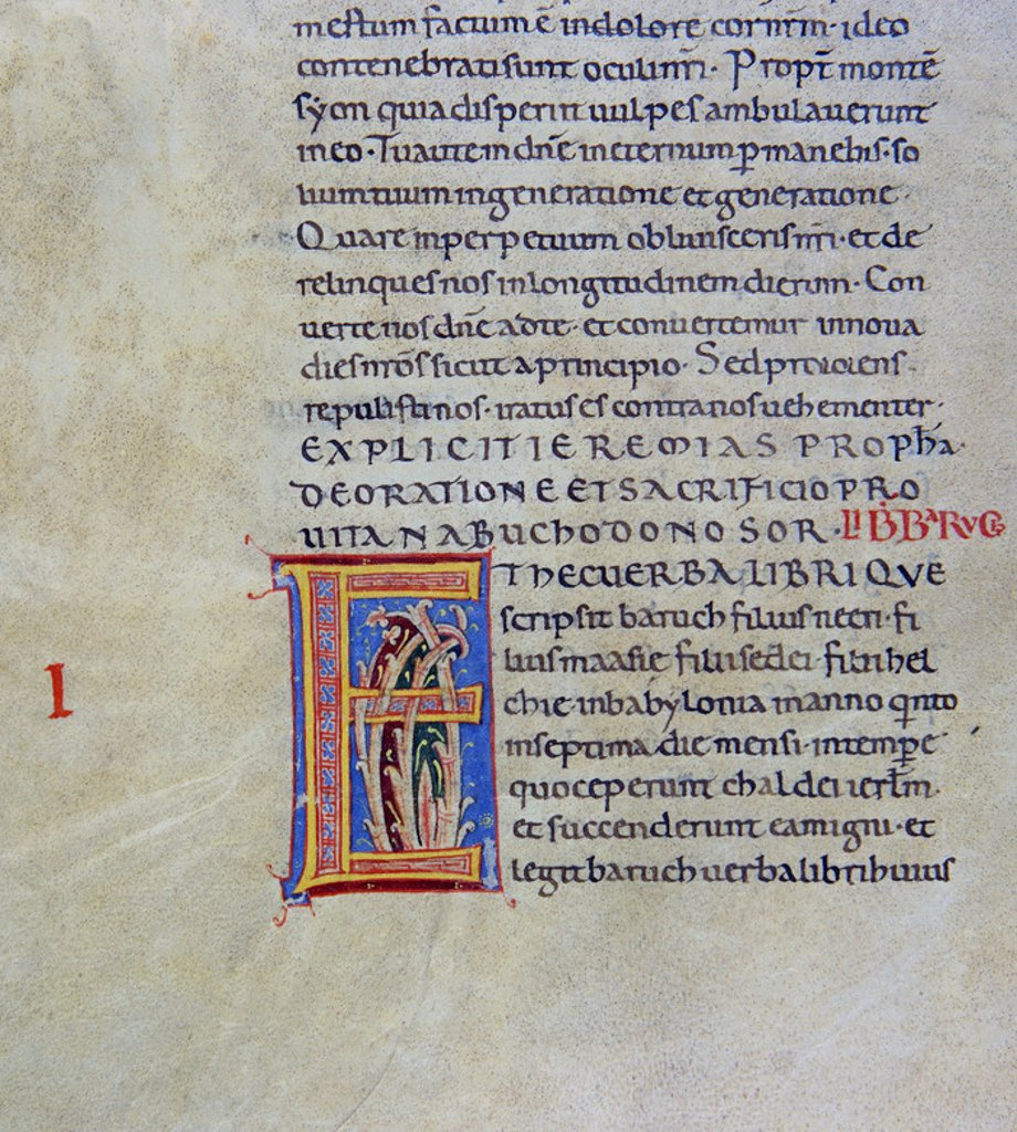 Stock Photo: 4409-5875 BIBLIA DE AVILA - CODICE SIGLO XIII - LETRA E. Location: BIBLIOTECA NACIONAL-COLECCION, MADRID, SPAIN.