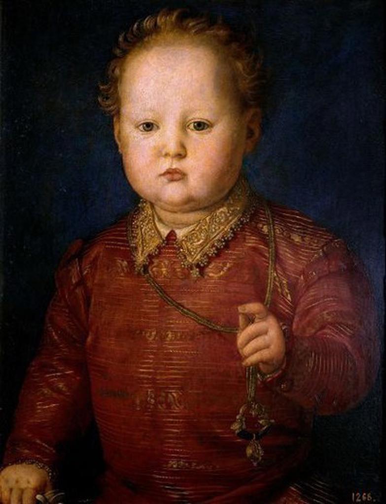 Don Garcia de Medici - ca. 1550 - 48x38 cm - oil on panel - Spanish Mannerism - NP 5. Author: BRONZINO. Location: MUSEO DEL PRADO-PINTURA, MADRID, SPAIN. Also known as: GARCIA DE MEDICI. : Stock Photo