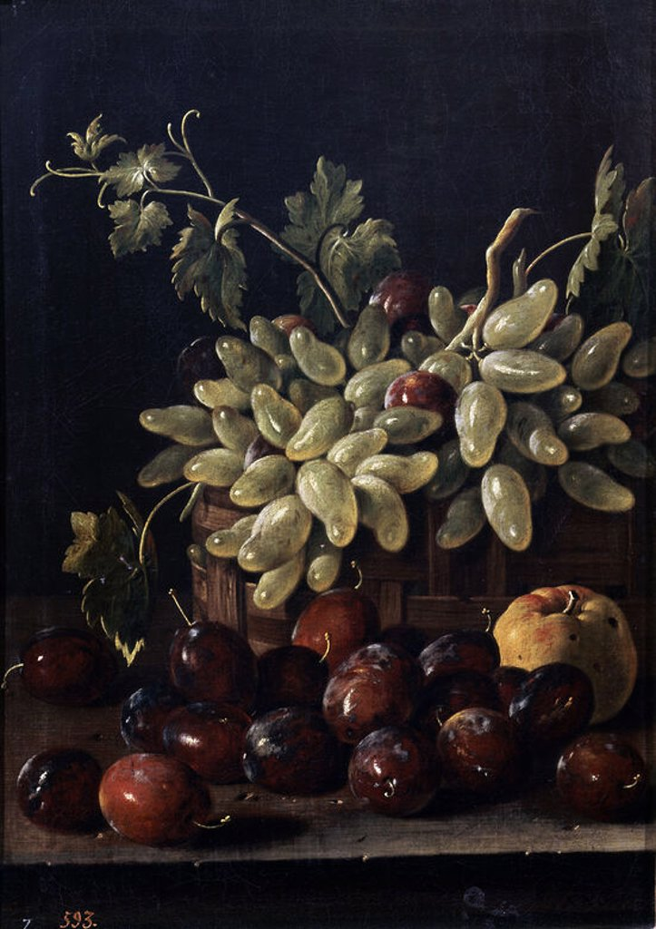 Stock Photo: 4409-5949 BODEGON CON CIRUELAS CESTA DE UVAS Y MANZANA - 1762 - O/L - 48x34,5 cm - BARROCO ESPAÑOL - NP 935. Author: MELENDEZ, LUIS. Location: MUSEO DEL PRADO-PINTURA, MADRID, SPAIN.