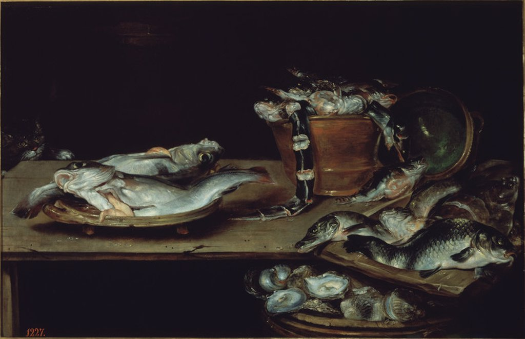 Stock Photo: 4409-5950 Still Life with Fish - 17th century - 60x91 cm - oil on canvas - Flemish School - NP 1341. Author: ADRIAENSSEN ALEXANDER VAN. Location: MUSEO DEL PRADO-PINTURA, MADRID, SPAIN. Also known as: BODEGON: MESA CON PESCADOS, OSTRAS Y UN GATO.