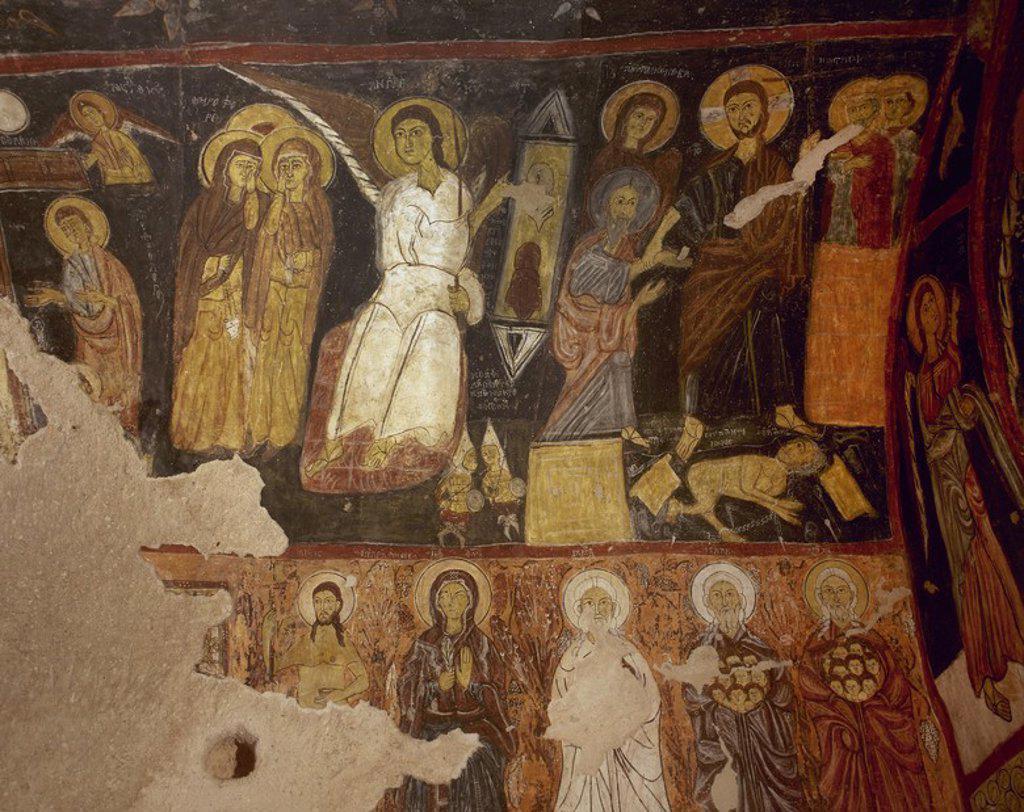 Stock Photo: 4409-59539 ARTE BIZANTINO. TURQUIA. IGLESIA DE SAN JUAN (S. XI). Detalle de una de las pinturas murales que decoran las paredes de la iglesia excavada en la roca. DÜLSEHIR. Región de la CAPADOCIA.