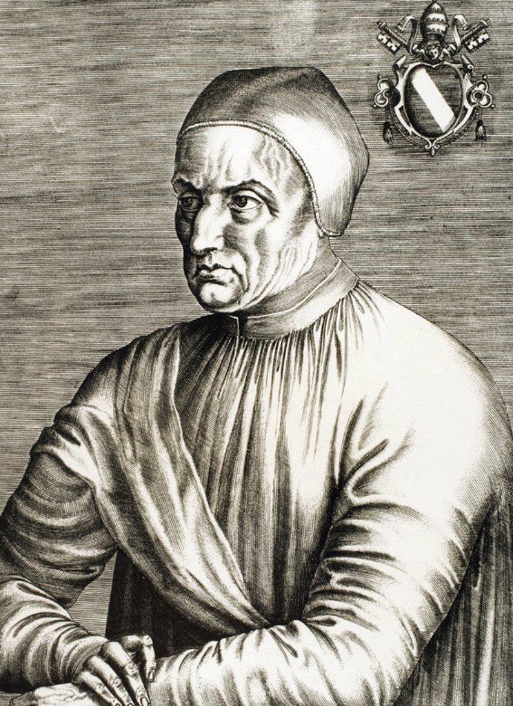 """EUGENIO IV (Venecia, 1383-Roma, 1447). Papa italiano, elegido en el año 1431, de nombre Gabriel Condulmer. Su pontificado quedó determinado por el Concilio de Basilea. Convocó de nuevo el Concilio en Ferrara (1438) y lo trasladó posteriormente a Florencia (1439). Firmó la bula """"Laetentur Coeli"""" (1439). Grabado. : Stock Photo"""