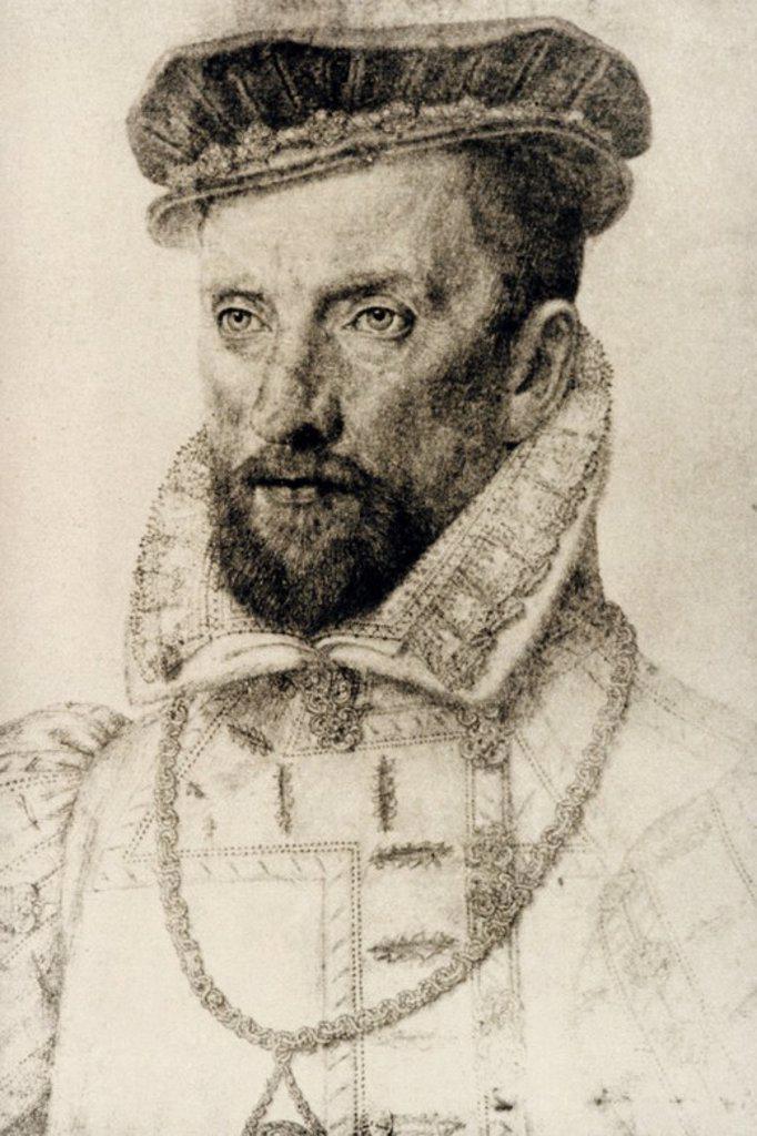 Stock Photo: 4409-59555 COLIGNY, Gaspard de Châtillon, conde de Châtillon sur-Loing, 1519-París, 1572). Almirante francés. Combatió en la batalla de San Quintín donde fue derrotado (1557). Se identificó con la causa de los Hugonotes y al estallar las guerras de Religión combatió contra el partido católico. Durante la matanza general de la Noche de San Bartolomé fue asesinado. Dibujo de Francçois Clovet.