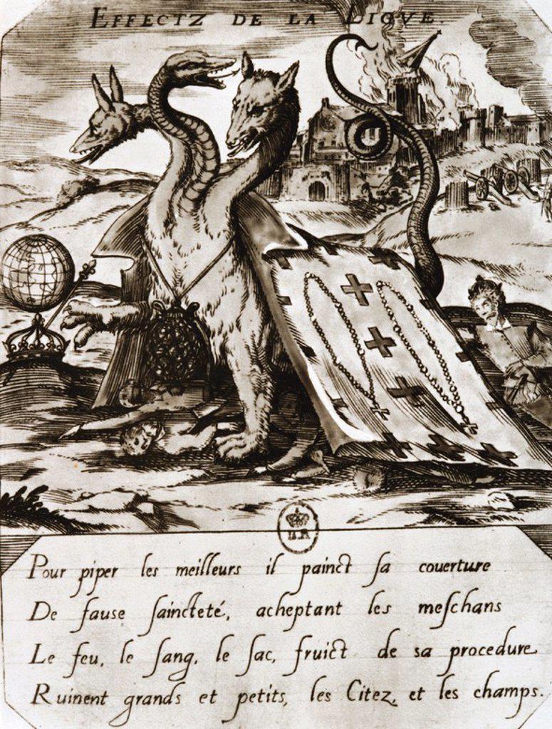 Stock Photo: 4409-59556 GUERRA DE RELIGIONES. FRANCIA SIGLO XVI. Propaganda de los HUGONOTES contra la LIGA CATOLICA. Hoja volante de 1594.