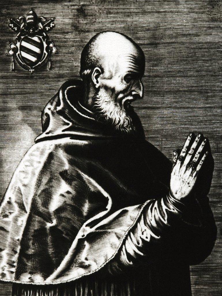 Stock Photo: 4409-59571 PIO V, San (Bosco, 1504-Roma, 1572). Papa italiano, de nombre Antonio Ghislieri. Elegido en 1566, era cardenal (1557). Pertenecía a la Orden Dominicana. Mantuvo tensión constante con Felipe II de España, por su intervencionismo en materia eclesiástica. Patrocinó la formación de la escuadra que venció a los turcos en Lepanto (1571). Grabado.