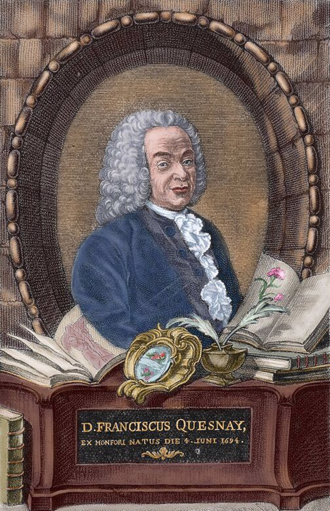Francois Quesnay (1694-1774). French economist. Colored engraving. : Stock Photo