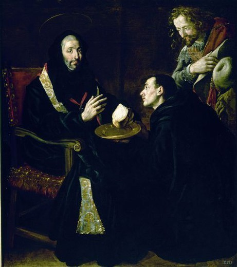 St. Benedict Blessing a Piece of Bread. 17th century. Spanish baroque. School of the Escorial Monastery. Madrid, Prado Museum. Author: RICCI FRAY JUAN ANDRES-RIZI FRAY. Location: MUSEO DEL PRADO-PINTURA, MADRID, SPAIN. : Stock Photo