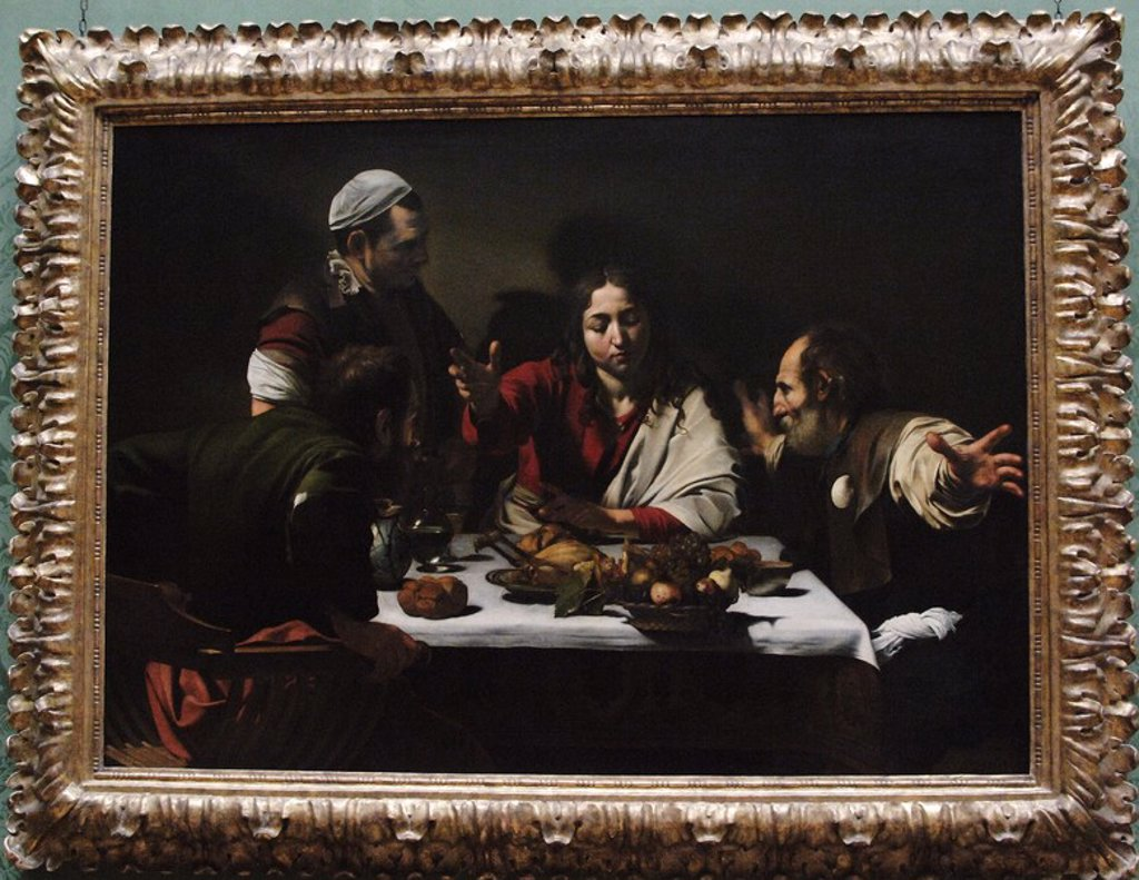 Baroque Art. Italy. Michelangelo Merisi da Caravaggio (1571-1610). Italian painter. Supper at Emmaus (1601). Oil on canvas. National Gallery. London. England. UK. : Stock Photo
