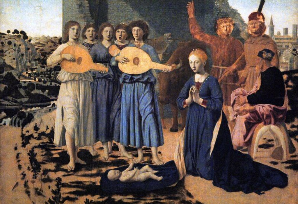 Renaissance Art. Italy. 15th century. Piero della Francesca (c.1420-1492). Italian painter. The Nativity, 1470-75.  Tempera on panel. National Gallery. London. England. UK. : Stock Photo