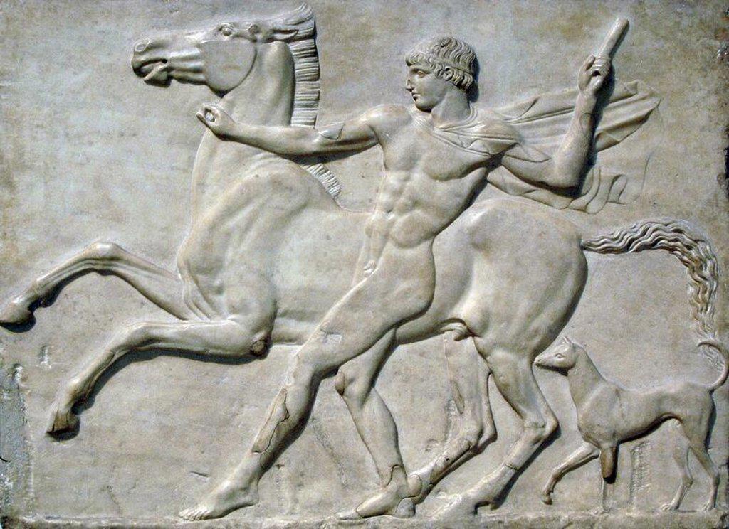 Stock Photo: 4409-59869 ARTE ROMANO. ITALIA. S. II. Relieve de mármol que representa a un JOVEN AMANSANDO A SU CABALLO ENCABRITADO CON UN PERRO. Fechado en el año 125 d. C. Localizado en la Villa Adriana (Tívoli). Es una creación romana, quizá designada para decorar las paredes de la Villa de Adriano, inspirada en las figuras clásicas griegas al estilo de las que aparecen en el friso del Partenón. Museo Británico. Londres. Inglaterra. Reino Unido.