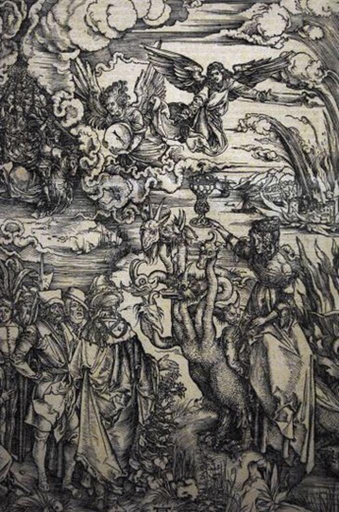 """Stock Photo: 4409-60023 ARTE RENACIMIENTO. ALEMANIA. DURERO, Alberto (Nuremberg, 1471-Nuremberg, 1528) Pintor y grabador alemán. """"LA PROSTITUTA DE BABILONIA"""" cabalgando sobre la bestia de las siete cabezas (h.1496-1497). Extraído del versículo 17 del APOCALIPSIS DE SAN JUAN. Grabado al buril. Museo del Petit Palais. París. Francia."""