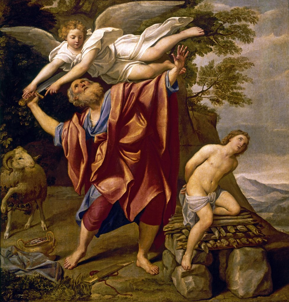 Sacrifice of Abraham. Oil on canvas (147 x 140 cm). Madrid, Prado museum. Location: MUSEO DEL PRADO-PINTURA, MADRID, SPAIN. : Stock Photo