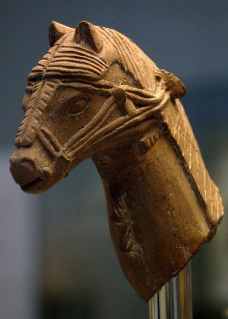 Head of a horse wearing a harness, part of a larger figure of a horse and rider. Terracotta. 600-500 BC. Made in Cyprus. From the Sanctuary of Apollo, Phrangissa. British Museum. London. England, United Kingdom. : Stock Photo