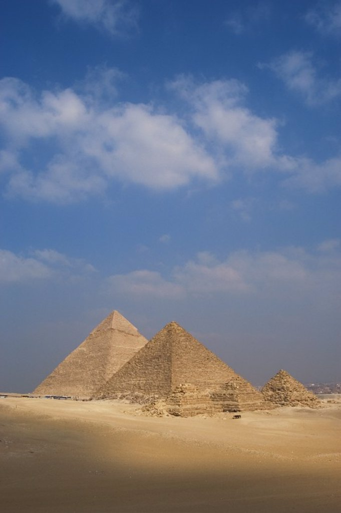 Egypt. The Pyramids of Giza. Pyramids of Khafre (or Chephren) and Menkaure (or Mykerinos). 26th century B.C. 4th Dynasty. Old Kingdom. : Stock Photo