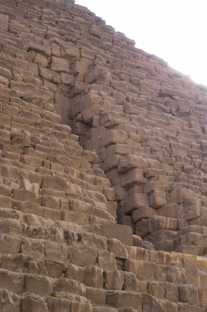 Stock Photo: 4409-60374 Egypt. The Great Pyramid of Giza called Pyramid of Menkaure. The smallest of the three Pyramids of Giza. Tomb of the fourth-dynasty pharaoh Menkaure. Detail. 26th century B.C. Old Kingdom.