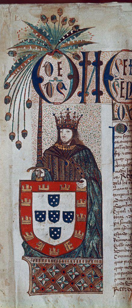 JUAN II DE PORTUGAL(1455-1495) EN LA PRIMERA PAGINA DEL LIBRO DOS COPOS - MINIATURA DEL SIGLO XV. Location: ARCHIVO NACIONAL, LISBON. : Stock Photo