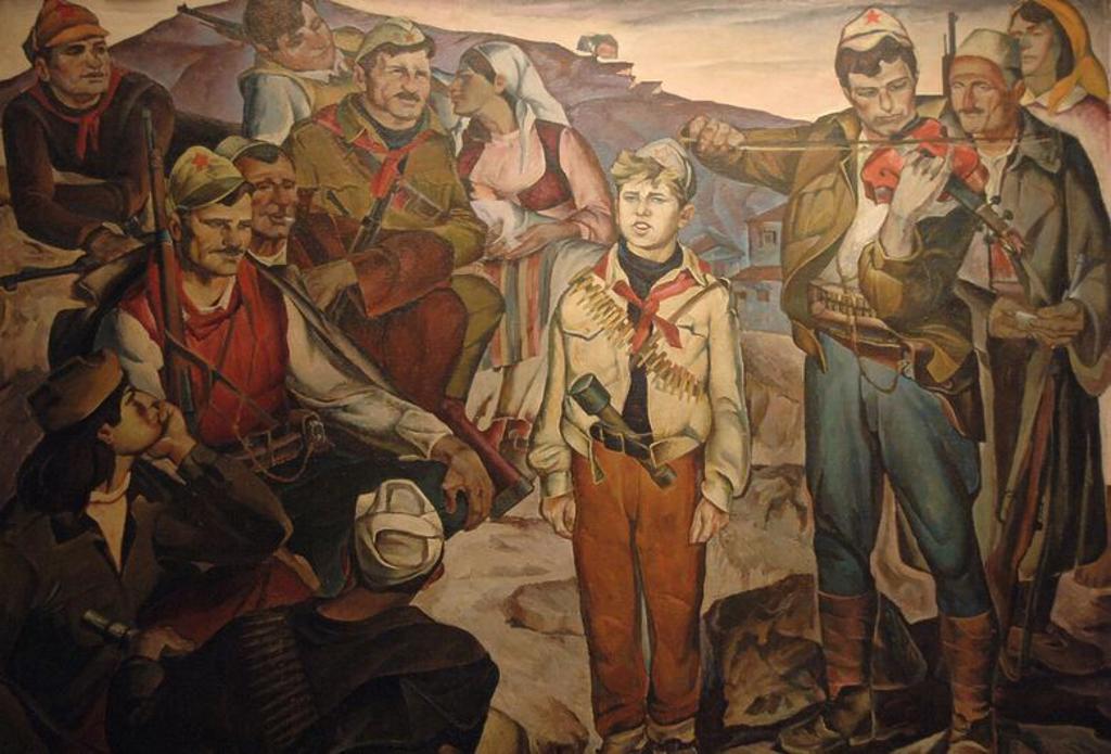 Stock Photo: 4409-60818 HISTORIA DE ALBANIA. S. XX. Grupo de PARTISANOS. Oleo de Andon LAKURIQI (1934-2004). Galeria Nacional de Arte. Tirana. Republica de Albania.