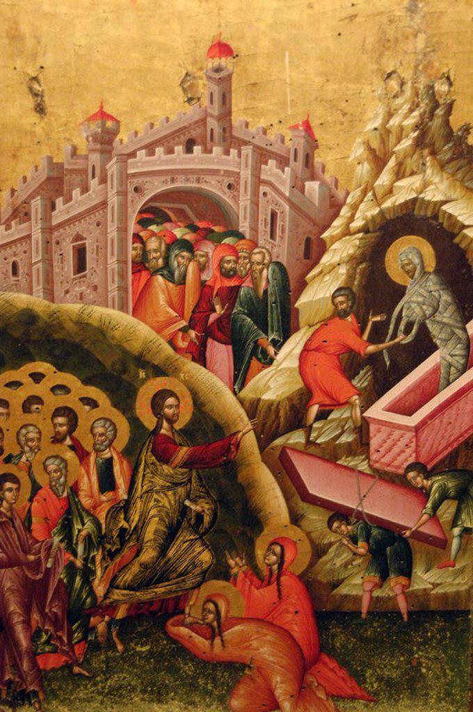 Stock Photo: 4409-60855 LA RESURRECCION DE LAZARO. Pintura del s. XVI. Museo de Arte Medieval Albanés. Korça. República de Albania.