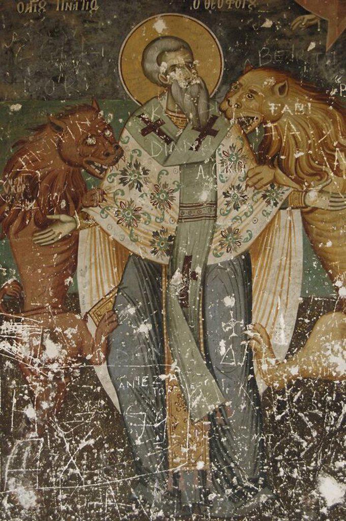 Stock Photo: 4409-60873 ARTE DEL S. XVIII. REPUBLICA DE ALBANIA. IGLESIA DE SAN NICOLAS (1721). Detalle de la decoración del exonártex (claustro exterior). Frescos realizados por los hermanos Kostandin y Athanas ZOGRAFI. Voskopoja.