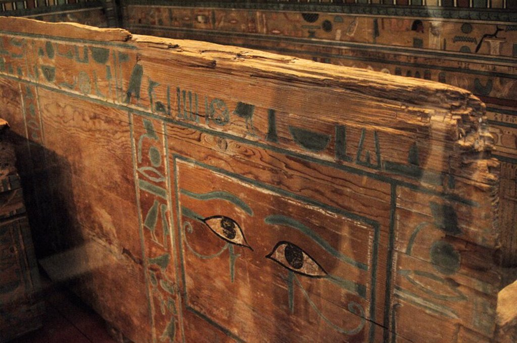 "Stock Photo: 4409-61075 Coffin of Gua. Painted cedar wood. Exterior. Detail. Stresses the pair of eyes on the east side that allowed the deceased ""look"" towards the dawn. 1850 BC. 12th Dynasty. Middle Kingdom. From the tomb of Gua, Deir el-Bersha. British Museum. London. United Kingdom."