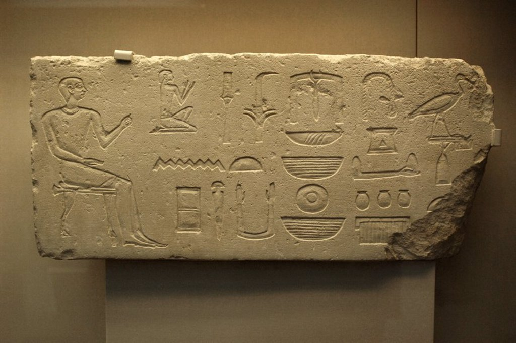 Hieroglyphic writing on a limestone tombstone of the Kaitep's tomb. 2300 BC. 5th - 6th Dynasties. Early Dynastic Period or Old Kingdom. Possibly from Giza. British Museum. London. United Kingdom. : Stock Photo