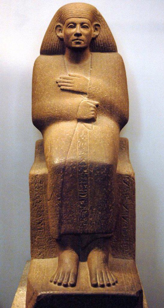 Quartzite statue of Ankhrekhu. 1850 BC. 12th Dynasty. Middle Kingdom. From Egypt. British Museum. London. United Kingdom. : Stock Photo