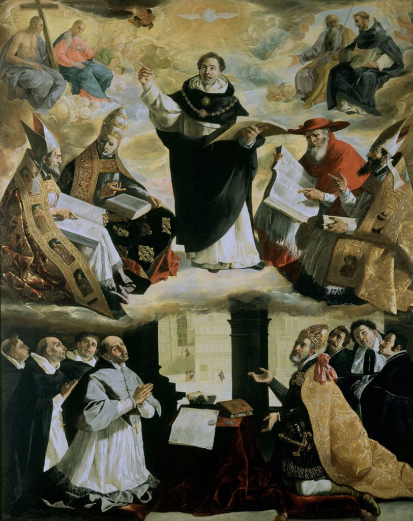 Spanish school. Apotheosis of Saint Thomas of Aquin. Apoteosis of Santo Tomas de Aquino . 1631. Oil on canvas (480x379). Sevilla, Fine Arts museum. Author: ZURBARAN, FRANCISCO DE. Location: MUSEO DE BELLAS ARTES-CONVENTO DE LA MERCED CALZAD, SEVILLE, SPAIN. : Stock Photo