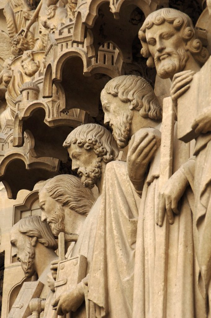 Stock Photo: 4409-61329 Gothic Art. France. Paris. Notre Dame. Last Judgment Portal (c.1230). Apostles. From left to right: Paul, James the Great, Thomas, Philip and Jude.