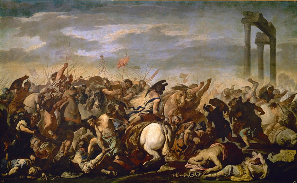 Stock Photo: 4409-6138 Italian School. Battle between Romans Barbarians. 17th century. Madrid, Prado Museum. Author: FALCONE, ANIELLO. Location: MUSEO DEL PRADO-PINTURA, MADRID, SPAIN.