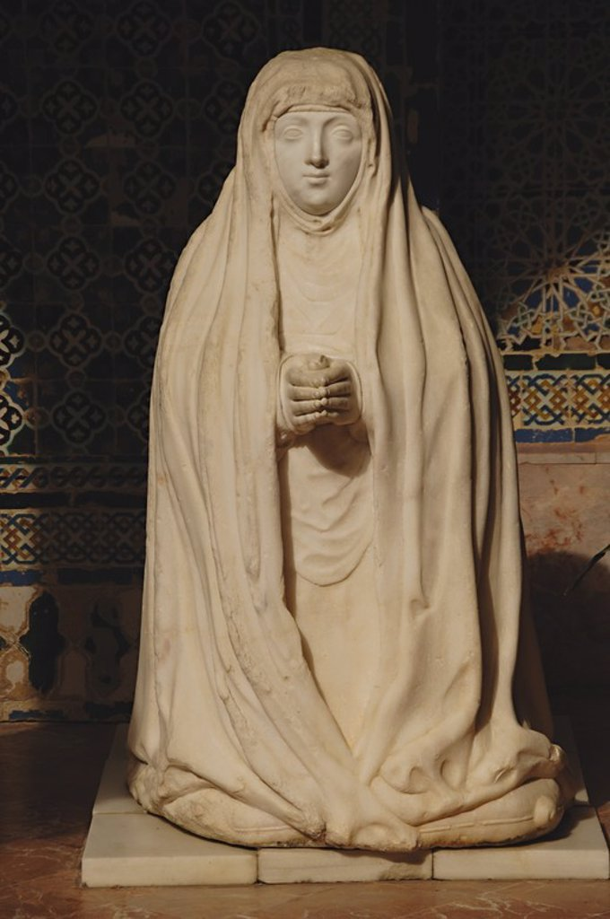 Stock Photo: 4409-61404 Spain. Andalusia. Seville. Island of the Charterhouse. Monastery of Our Lady of the Caves, founded in 1399 by Gonzalo de Mena, Archbishop of Seville. Cloister.  Sculpture of Leonor Cabeza de Vaca.