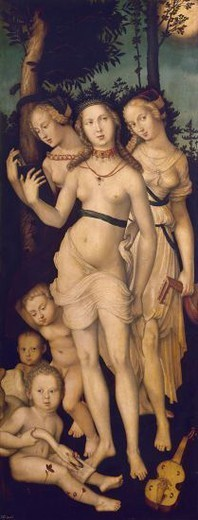 Stock Photo: 4409-6168 Harmony or, The Three Graces - 16th century - 151x61 cm - oil on panel - German Renaissance -NP 2219. Author: BALDUNG, HANS. Location: MUSEO DEL PRADO-PINTURA, MADRID, SPAIN. Also known as: LA ARMONIA O LAS TRES GRACIAS.