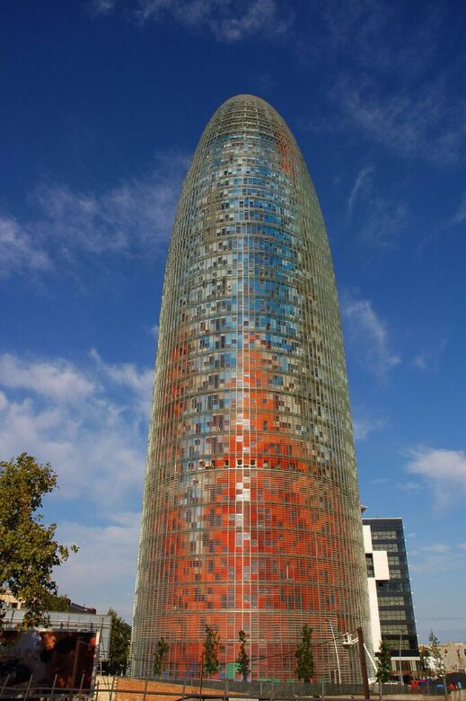 Stock Photo: 4409-61895 Agbar Tower. 2005. Built by Jean Nouvel and B720 architectural firm. Exterior. Barcelona. Spain.