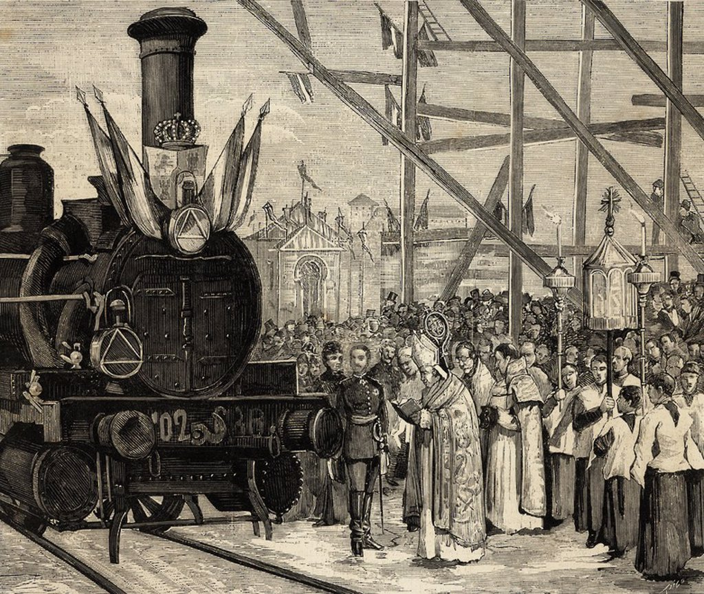 "Stock Photo: 4409-61901 Inauguration of a direct rail from Madrid to Ciudad Real. The Cardinal Archbishop of Toledo bless the locomotive ""Badajoz"" (1879), in the presence of King Alfonso XII. Engraving in The Spanish and American Illustration."
