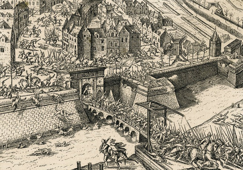 Stock Photo: 4409-61919 Eighty Years' War (1568-1648). Sack of Antwerp (4 November 1576) by Spanish tercios during the reign of Philip II of Spain. Facsimile of a copper engraving of F. Hogenberg.