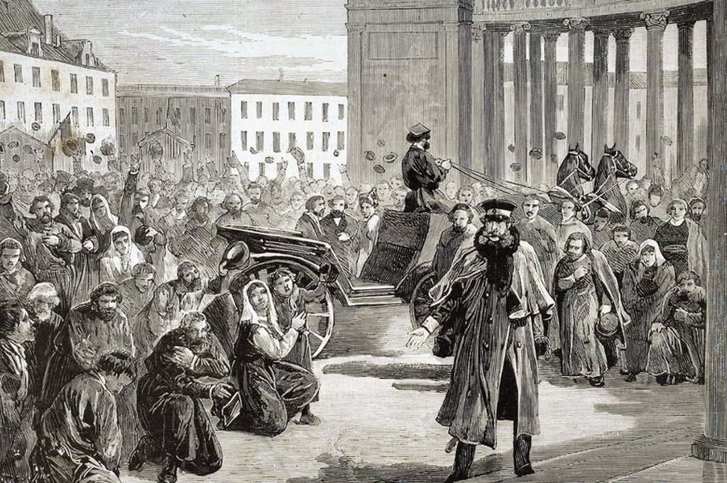 "Stock Photo: 4409-61921 Russia. St. Petersburg. 19th century. Ovation of the people to the Czar in the portico of the Kasanski church after being the victim of an attack. Engraving. ""The Spanish and American Illustration,"" 1879."