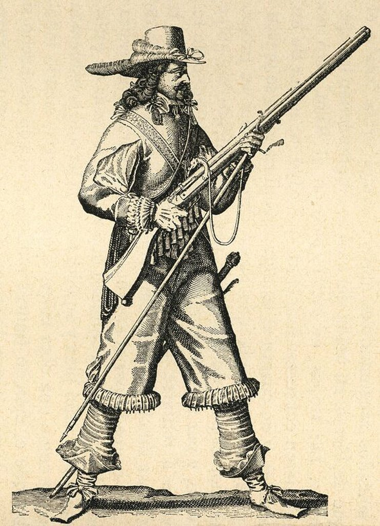 France. Army of the 18th century. Musketeer of the Infantry of Louis XIV with his musket. Engraving. : Stock Photo