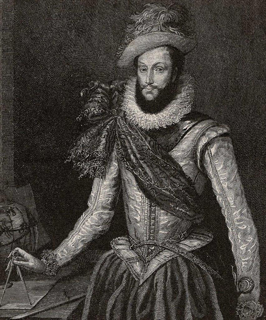 "Sir Walter Raleigh (c. 1554-1618). English aristocrat, writer, poet, soldier, courtier, spy, and explorer. Engraving in ""El Mundo Ilustrado"", 1880. : Stock Photo"