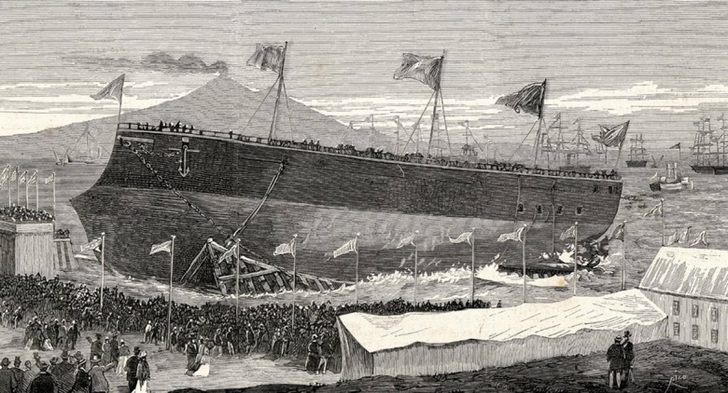 "Italy. Castellmmare. Launch of the battleship L'Italia (September 29, 1880). Engraving of ""The Spanish and American Illustration"", 1880. : Stock Photo"