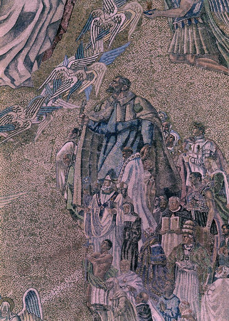 Stock Photo: 4409-6215 DETALLE DE LA CUPULA DE MOSAICO REALIZADA ENTRE 1951 Y 1955 - LOS CONFESORES DE LA FE - DETALLE DEL APOSTOL SANTIAGO Y DE FERNANDO III EL SANTO. Author: PADROS SANTIAGO. Location: VALLE DE LOS CAIDOS, CUELGAMUROS, MADRID, SPAIN.