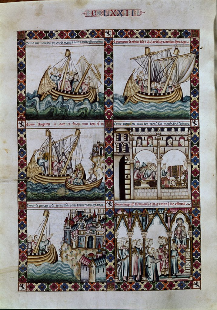 Stock Photo: 4409-6222 Spanish school. The Cantigas de Santa Maria (manuscript with music notations): The Virgin saving a merchants' ship in St. Juan de Acre. 13th century. Canticle n°172, folio 229 V. Madrid, San Lorenzo de El Escorial library. Author: ALFONSO X OF CASTILE, THE WISE. Location: MONASTERIO-BIBLIOTECA-COLECCION, SAN LORENZO DEL ESCORIAL, MADRID, SPAIN.