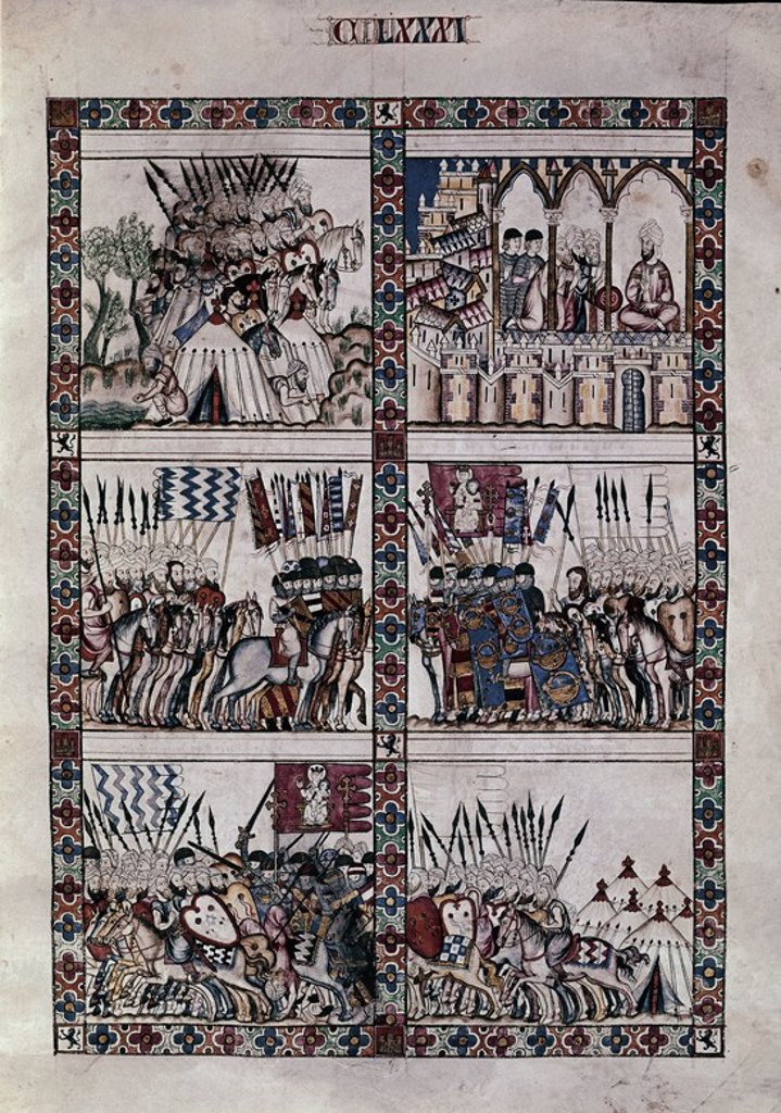 Stock Photo: 4409-6224 Spanish school. The Cantigas de Santa Maria (manuscript with music notations): The conquest of Morocco. 13th century. Canticle n°181, folio 240 R. Madrid, San Lorenzo de El Escorial library. Author: ALFONSO X OF CASTILE, THE WISE. Location: MONASTERIO-BIBLIOTECA-COLECCION, SAN LORENZO DEL ESCORIAL, MADRID, SPAIN.