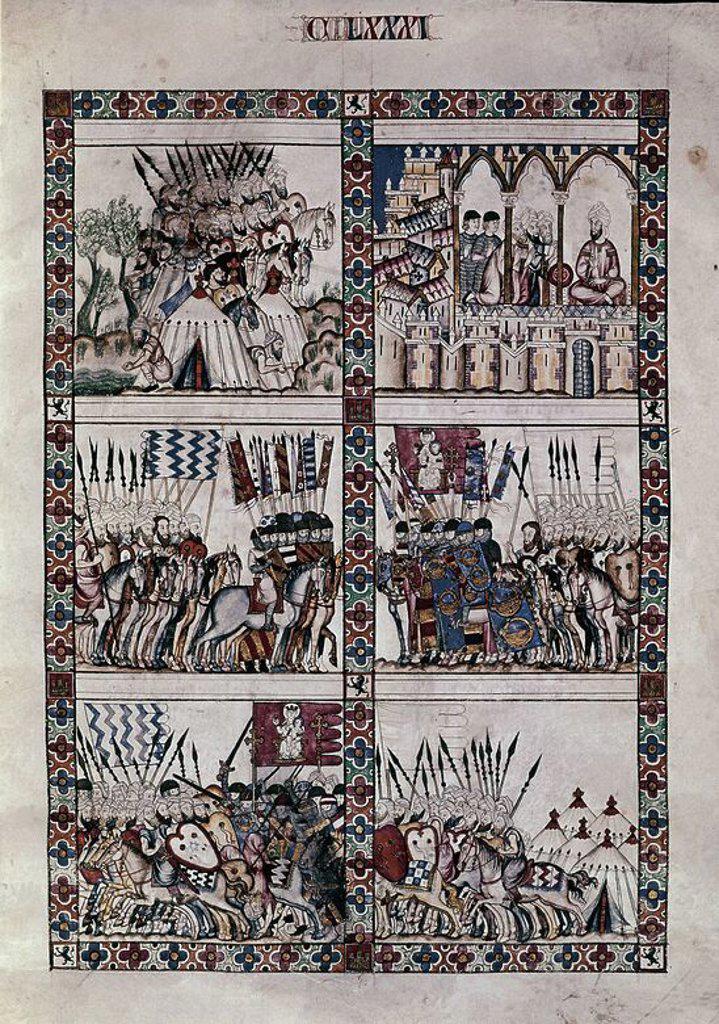 Spanish school. The Cantigas de Santa Maria (manuscript with music notations): The conquest of Morocco. 13th century. Canticle n°181, folio 240 R. Madrid, San Lorenzo de El Escorial library. Author: ALFONSO X OF CASTILE, THE WISE. Location: MONASTERIO-BIBLIOTECA-COLECCION, SAN LORENZO DEL ESCORIAL, MADRID, SPAIN. : Stock Photo