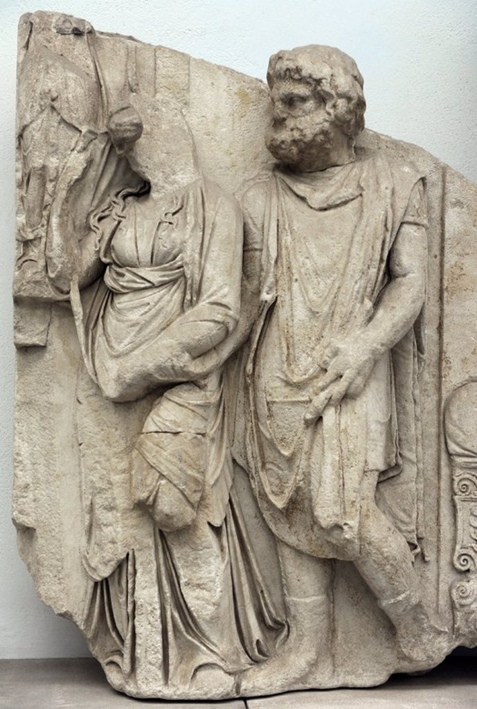 Pergamon Altar. 164-156 BC. Telephos Frieze. Detail. Teuthras gives Auge to Telephus in marriage. Pergamon Museum. Berlin. Germany. : Stock Photo